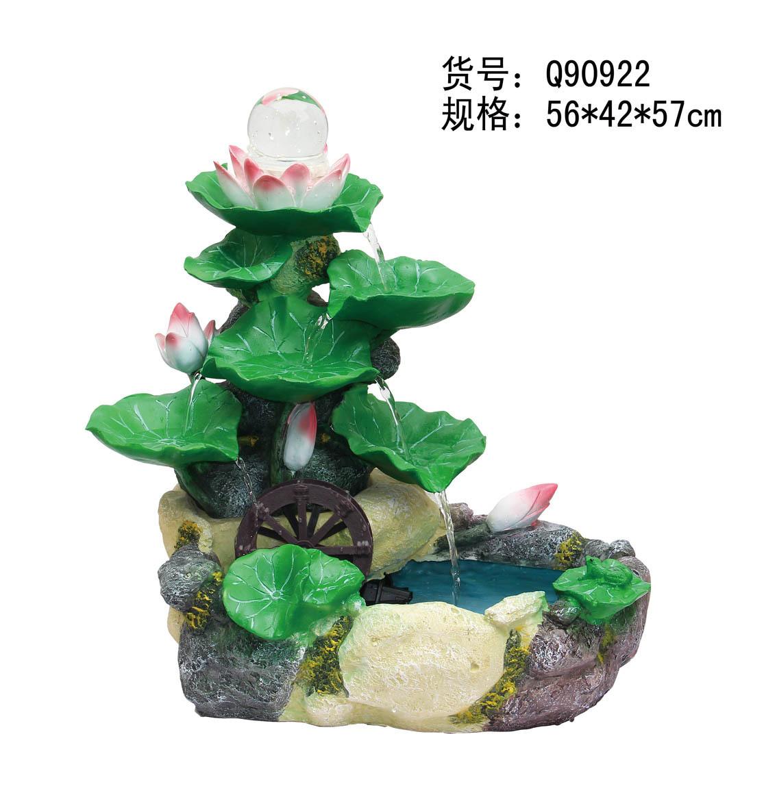 中国风荷趣树脂流水喷泉鱼缸风水轮摆件时尚家居结婚送礼佳品